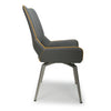 Shankar Graphite Grey Leather Match Swivel Dining Chair
