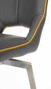 Shankar Graphite Grey Leather Match Swivel Bar Chair