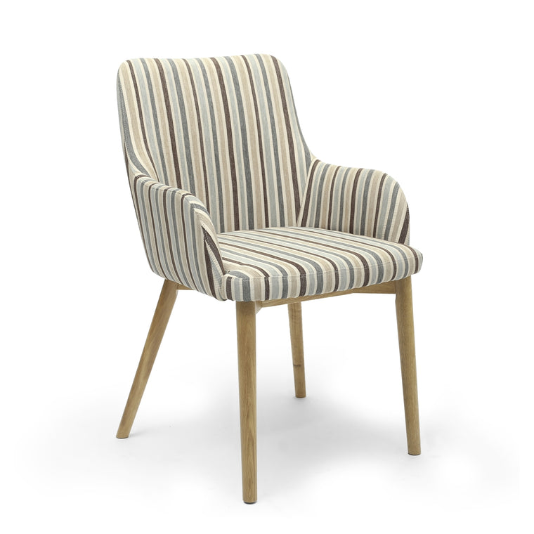 Hawksmoor Sidcup Chenille Stripe Duck Egg Dining Chair (Pair)