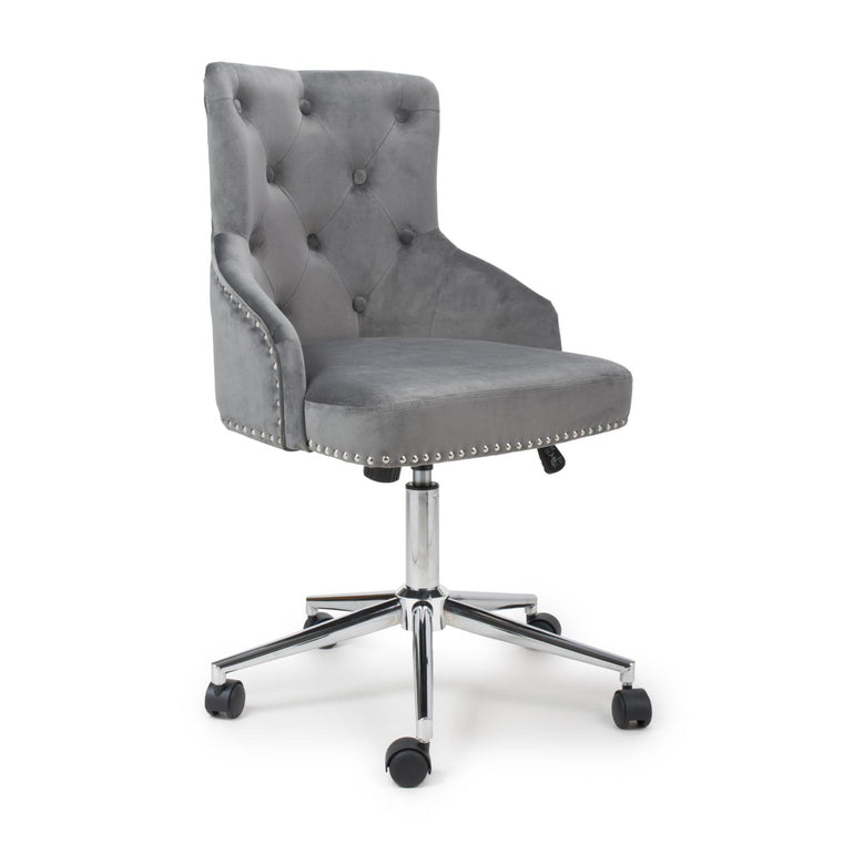 Hawksmoor Rocco Brushed Velvet Grey Office Chair
