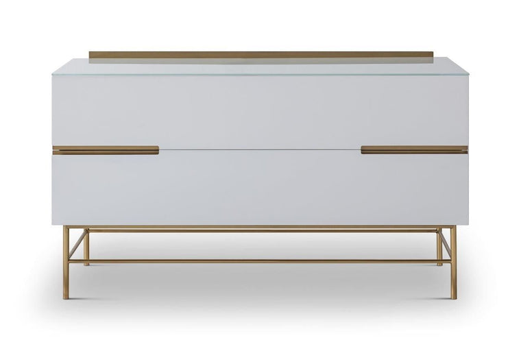 Gillmore Space Alberto Two Drawer Low Sideboard White With Brass Accent
