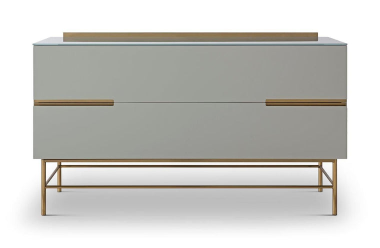 Gillmore Space Alberto Two Drawer Low Sideboard Grey With Brass Accent
