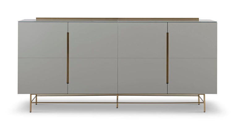 Gillmore Space Alberto Four Door High Sideboard Grey With Brass Accent