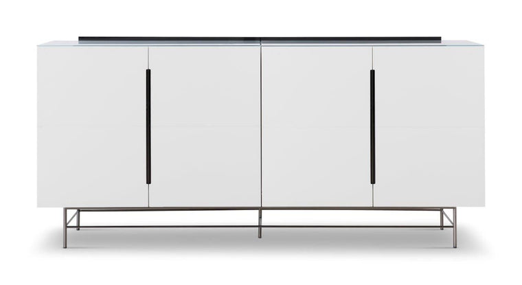 Gillmore Space Alberto Four Door High Sideboard White With Dark Chrome Accent