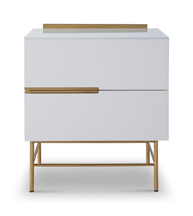 Gillmore Space Alberto Two Drawer Narrow Chest White With Brass Accent