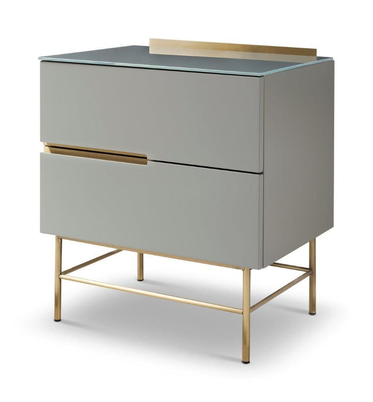 Gillmore Space Alberto Two Drawer Narrow Chest Grey With Brass Accent