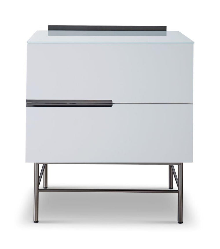 Gillmore Space Alberto Two Drawer Narrow Chest White With Dark Chrome Accent