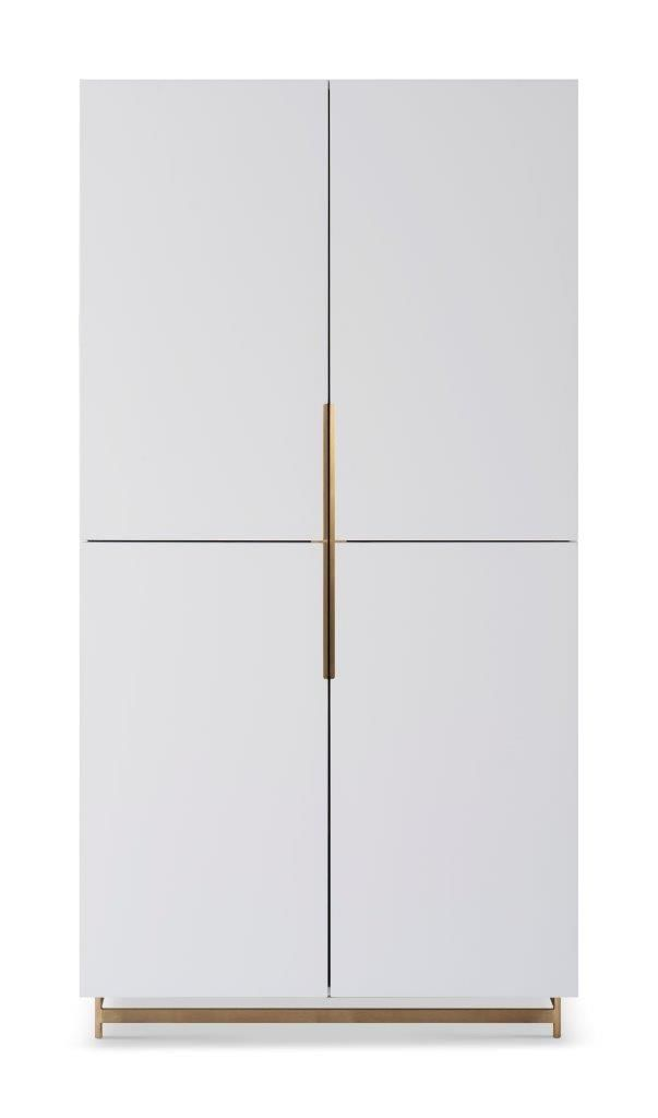 Gillmore Space Alberto Wardrobe White With Brass Accent