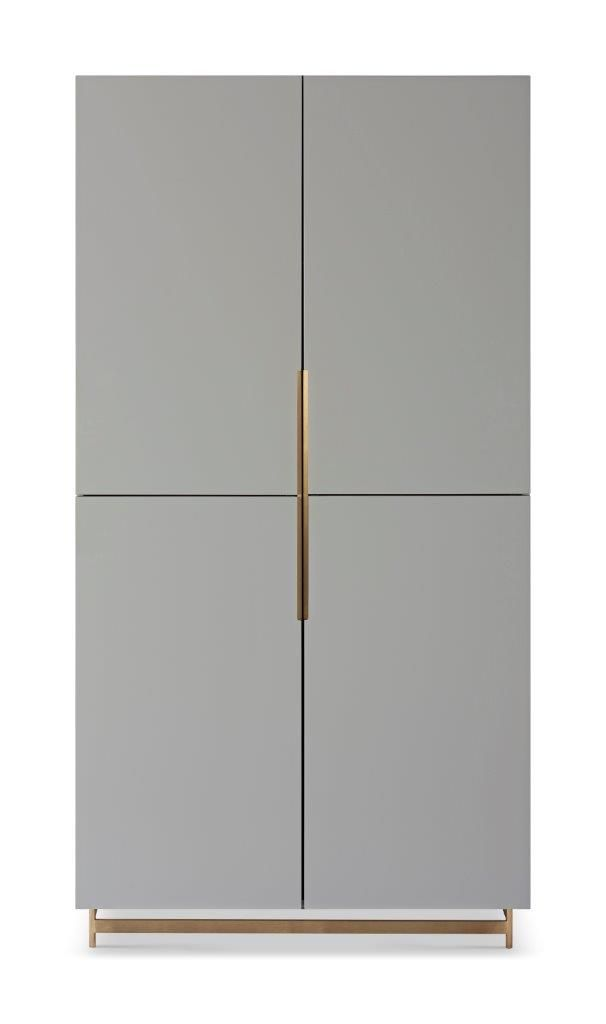 Gillmore Space Alberto Wardrobe Grey With Brass Accent