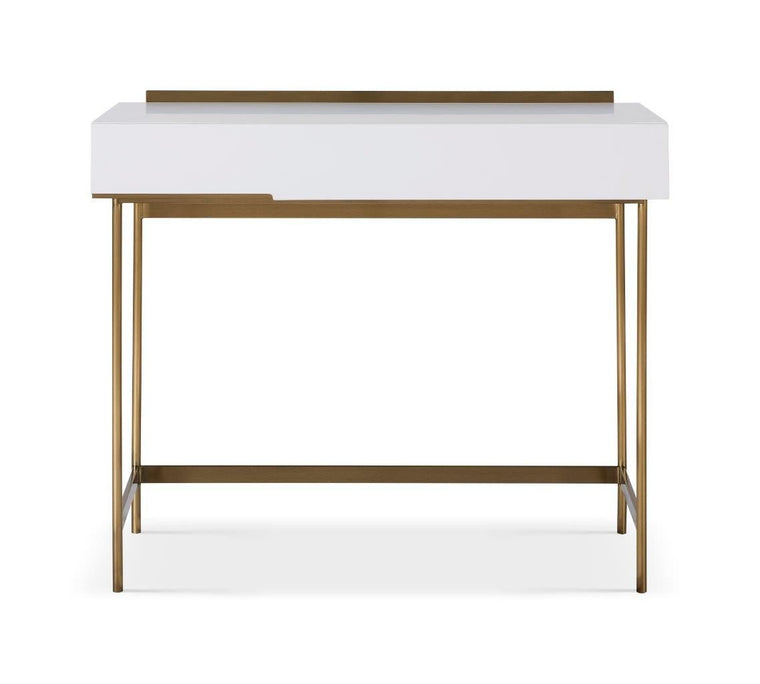 Gillmore Space Alberto Dressing Table White With Brass Accent