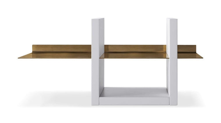 Gillmore Space Alberto Wall Shelf Unit White With Brass Accent