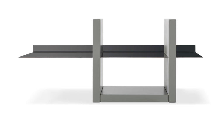 Gillmore Space Alberto Wall Shelf Unit Grey With Dark Chrome Accent
