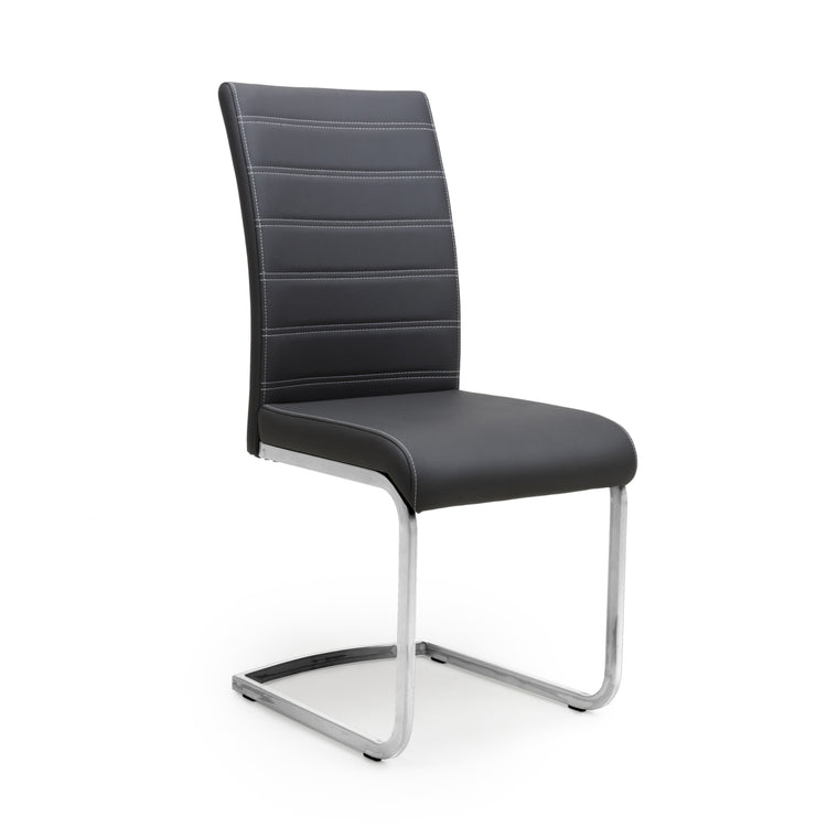 Hawksmoor Callisto Leather Effect Black Dining Chair (Pair)