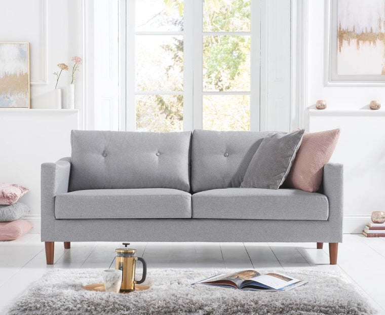 Carrie Grey Linen 3 Seater Sofa