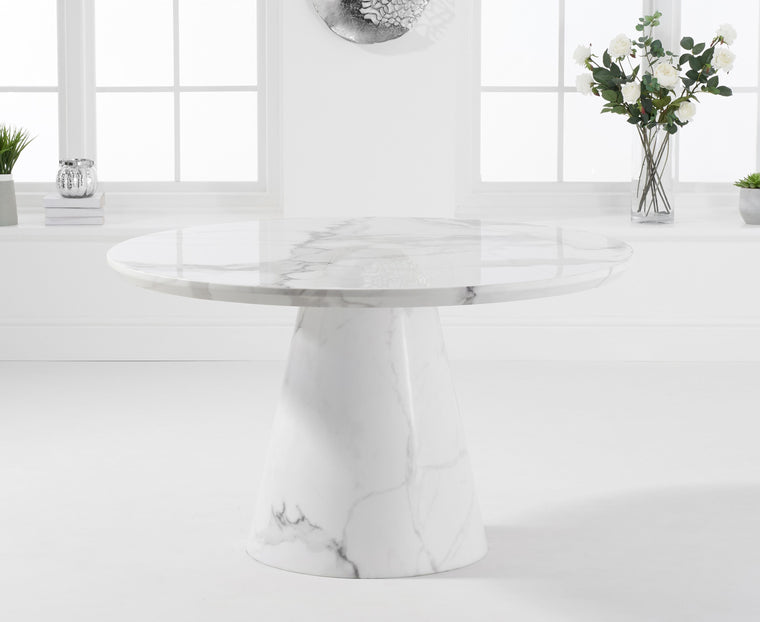 Mark Harris Ramiro 130cm Round Ivory White Marble Dining Table