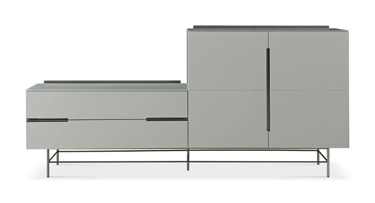 Gillmore Space Alberto Door & Drawer Combination Sideboard Grey With Dark Chrome Accent