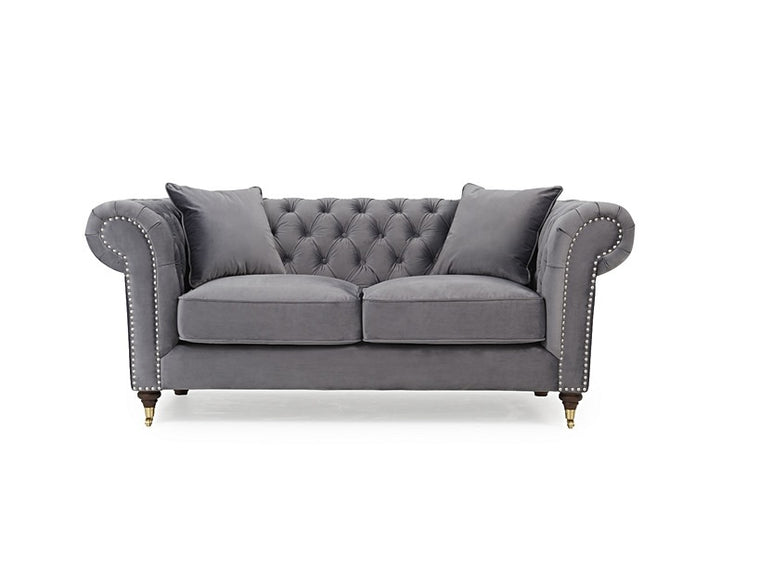 Camara Chesterfield Grey Velvet 2 Seater
