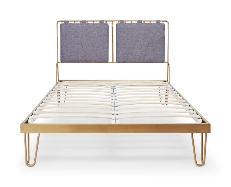Gillmore Space Finn Double Bed Pewter Grey Upholstered & Brass Frame