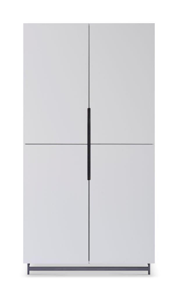 Gillmore Space Alberto Wardrobe White With Dark Chrome Accent