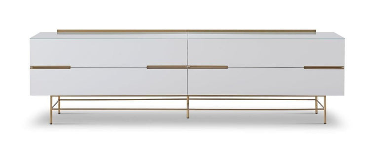 Gillmore Space Alberto Four Drawer Low Sideboard White With Brass Accent