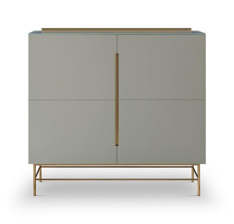 Gillmore Space Alberto Two Door High Sideboard Grey With Brass Accent