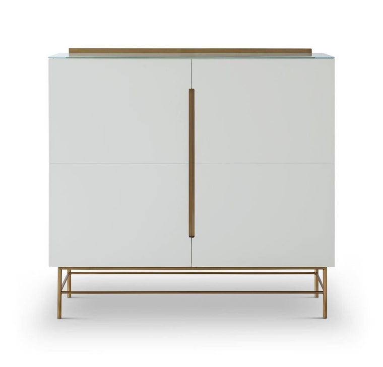 Gillmore Space Alberto Two Door High Sideboard White With Brass Accent