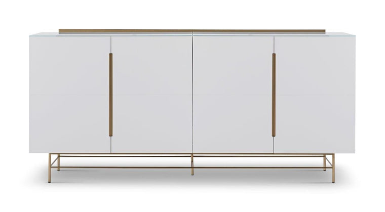 Gillmore Space Alberto Four Door High Sideboard White With Brass Accent