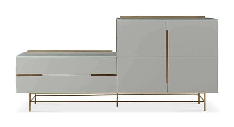 Gillmore Space Alberto Door & Drawer Combination Sideboard Grey With Brass Accent