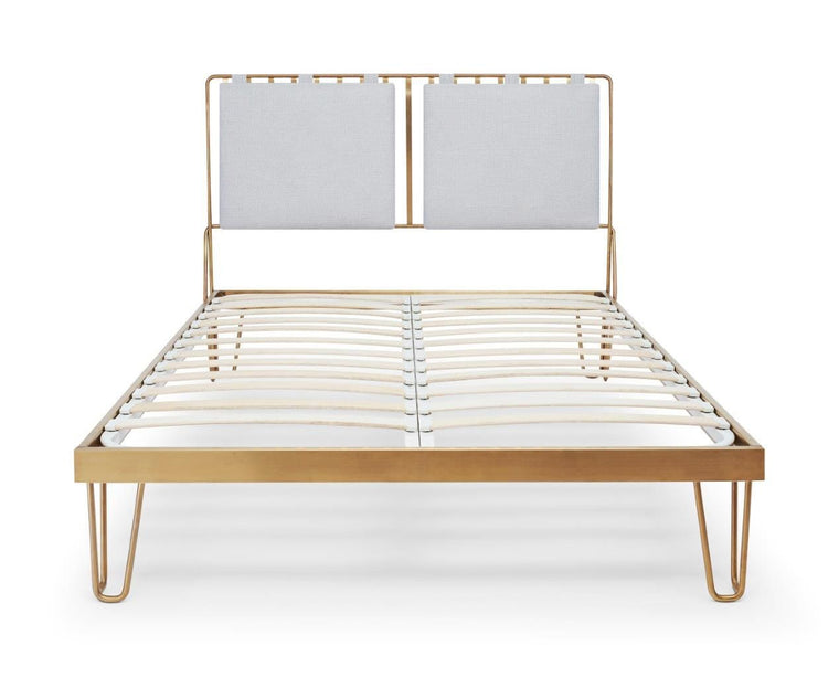Gillmore Space Finn Double Bed Silver Upholstered & Brass Frame