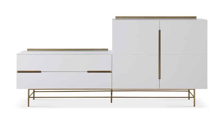Gillmore Space Alberto Door & Drawer Combination Sideboard White With Brass Accent
