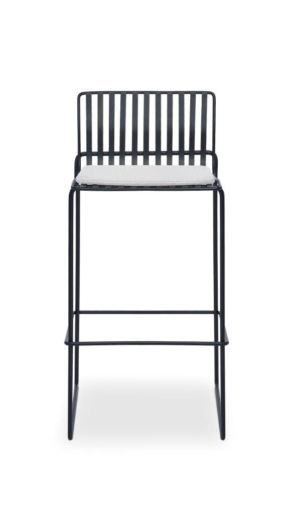 Gillmore Space Finn Bar Stool Silver Upholstered & Black Frame