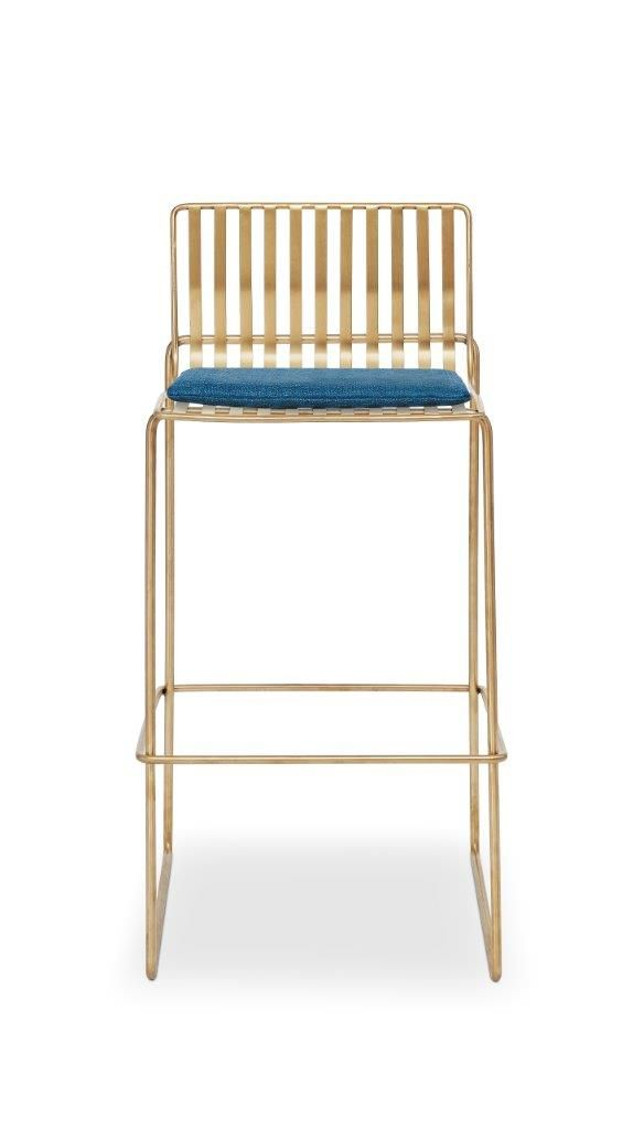 Gillmore Space Finn Bar Stool Admiral Blue Upholstered & Brass Frame