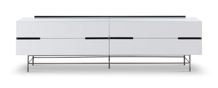 Gillmore Space Alberto Four Drawer Low Sideboard White With Dark Chrome Accent