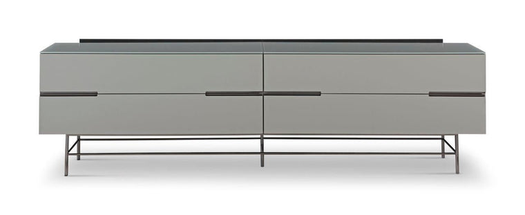 Gillmore Space Alberto Four Drawer Low Sideboard Grey With Dark Chrome Accent