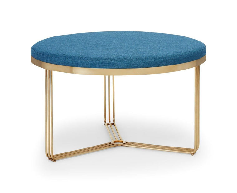 Gillmore Space Finn Small Circular Coffee Table Or Footstool Admiral Blue Upholstered & Brass Frame