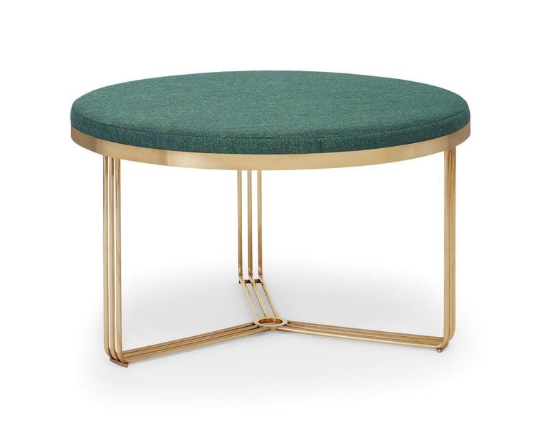 Gillmore Space Finn Small Circular Coffee Table Or Footstool Conifer Green Upholstered & Brass Frame