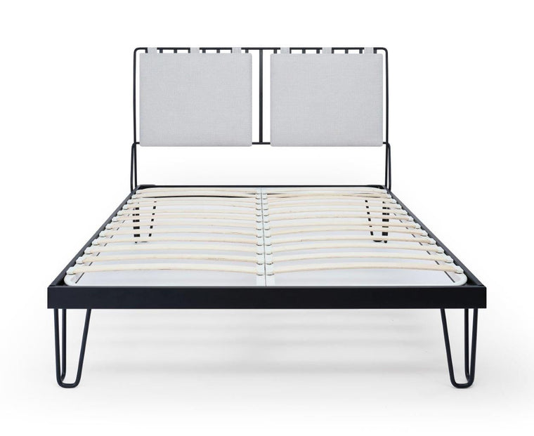 Gillmore Space Finn King Bed Silver Upholstered & Black Frame