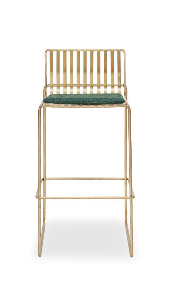 Gillmore Space Finn Bar Stool Conifer Green Upholstered & Brass Frame