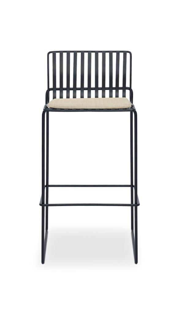 Gillmore Space Finn Bar Stool Natural Upholstered & Black Frame