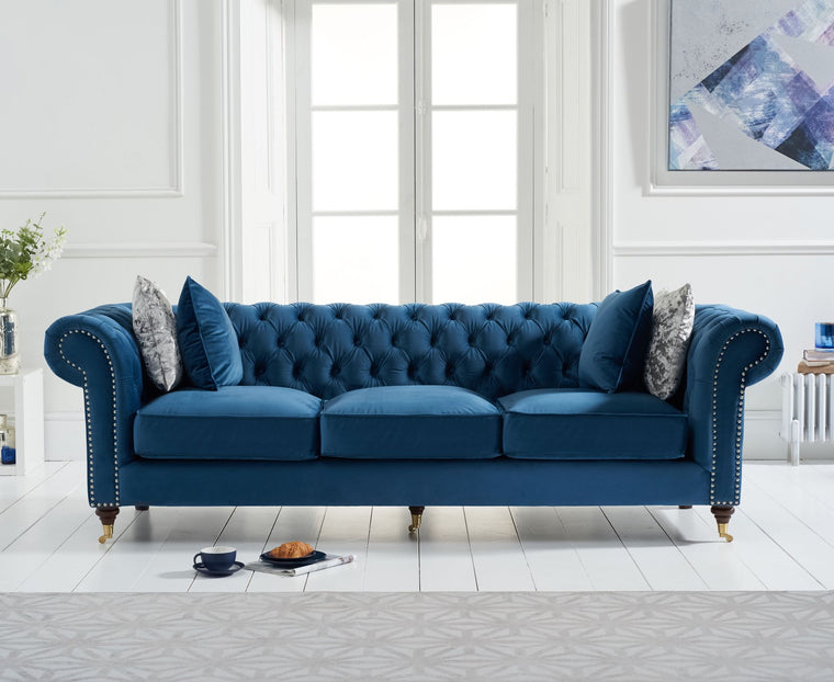 Camara Chesterfield Blue Velvet 3 Seater Sofa