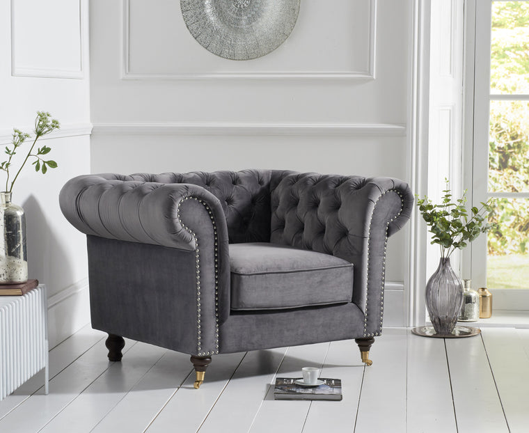 Camara Chesterfield Grey Velvet Armchair