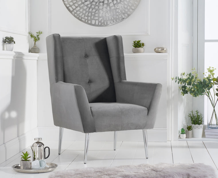 Mark Harris Brooklyn Grey Velvet Accent Chair