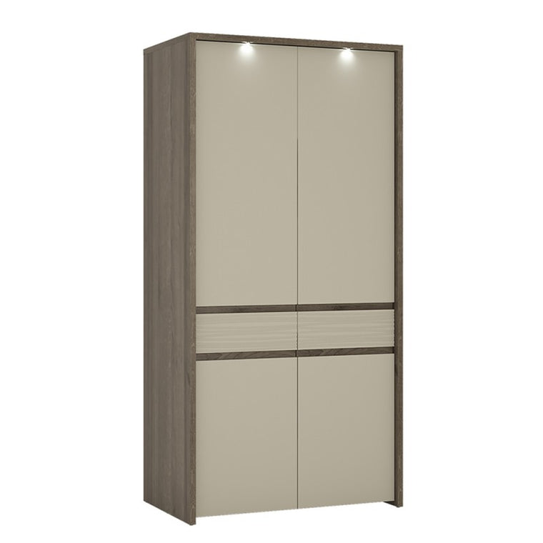 Axton Olinville 2 Door Tall Cupboard/Wardrobe (Inc LED lighting) in Riviera Oak
