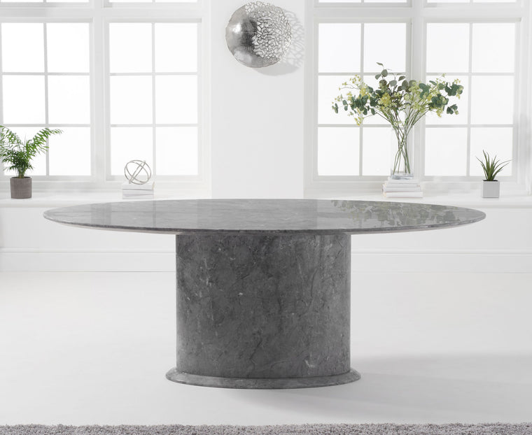 Mark Harris Cooper 200cm Oval Grey Marble Dining Table