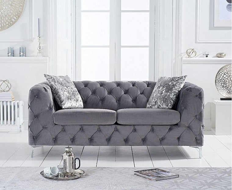 Alegra Grey Velvet 2 Seater Sofa