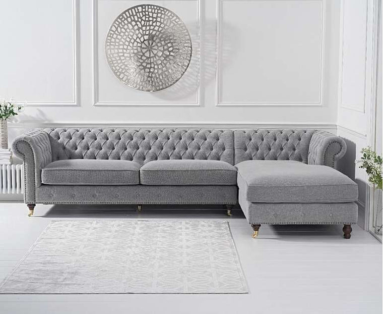 Mark Harris Fiona Grey Linen Right Facing Chesterfield