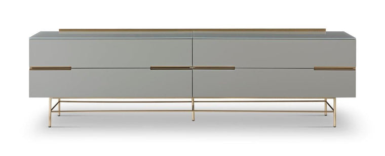 Gillmore Space Alberto Four Drawer Low Sideboard Grey With Brass Accent