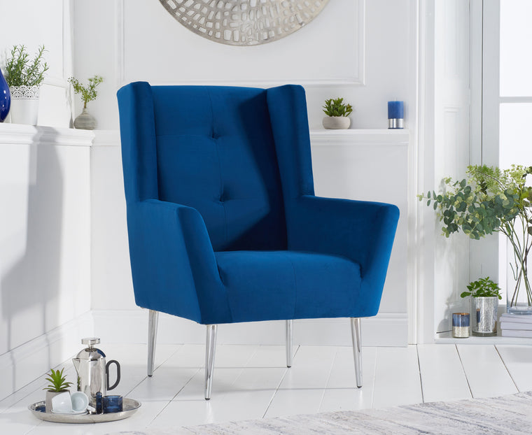 Mark Harris Brooklyn Blue Velvet Accent Chair