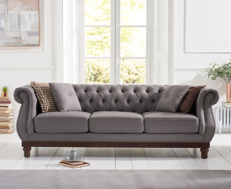 Mark Harris Highgrove Grey Linen 3 Seater Sofa
