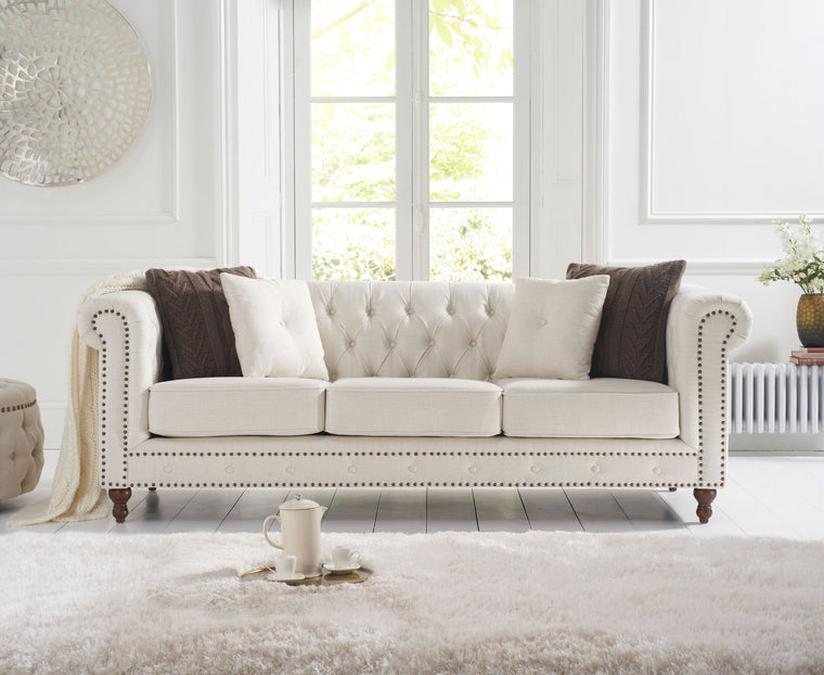 Mark Harris Montrose Ivory Linen 3 Seater Sofa